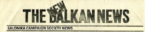 Logo of 'The New Balkan News', email newsletter of the Salonika Campaign Society.