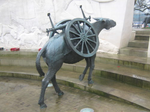 The mule at the Animals at War Memorial in London.