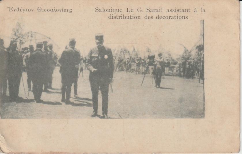 Greek postcard showing General Sarrail distributing medals in Salonika