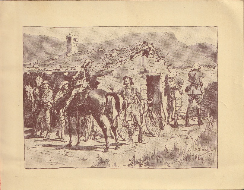 Corps Cavalry and Cyclists Christmas card, 1917: drawing of cavalry and cyclists at an advanced post.