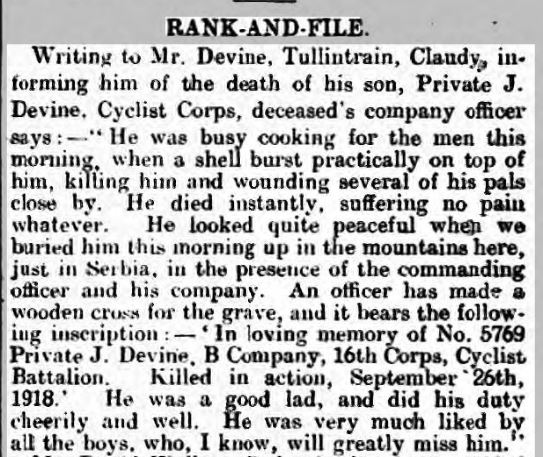 The death of Private J. Devine of 16 Corps Cyclist Battalion, ACC, as reported in the 'Londonderry Sentinel' on 19 October 1918. Cutting provided by William Houston who is researching people from Claudy in County Londonderry, Northern Ireland.