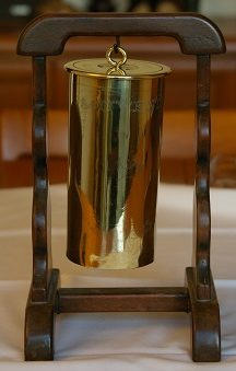 Trench art gong made from a shell case. From the collection of John Staple of the Army Service Corps Remount Service