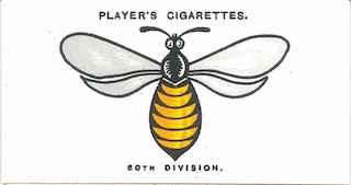 Player's Cigarettes card of the divisional sign of 60th Division. A bee.