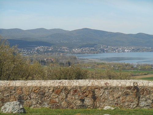 Photograph: The view from the CWGC Memorial on Colonial Hill in Greece, across Lake Doiran to Doiran town in FYROM. Photograph by Robin Braysher, March 2016.