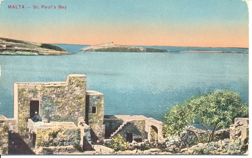 A hand tinted photo of St Paul's Bay, Malta. From Robin Braysher's collection.