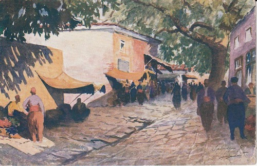 Postcard (front): Salonica 235 - Market in the High Town