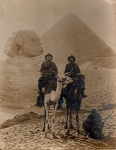 John and friend on camels in Egypt. From the collection of John Staple of the Army Service Corps Remount Service.
