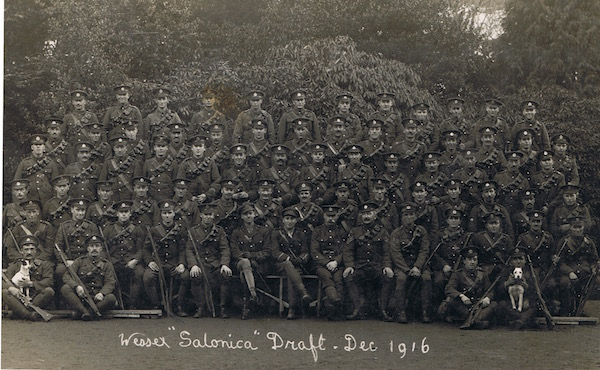 Photograph of a draft of the Wessex Royal Engineers destined for Salonika in December 1916. Two Field Companies - 1st and 2nd Wessex RE TF - served with the 27th Division in the Struma Valley as the 500th and 501st Field Companies.