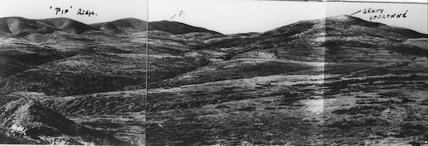 A section of the Doiran battlefield showing Pip Ridge and Grand Couronné, October 1918.