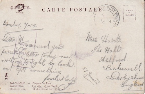 Postcard (reverse): Salonica 234 - The Alley of the Well - sent 7 January 1918