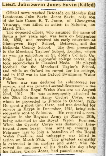 Newspaper cutting: The death of Lt John Jones Savin in Salonika, reported in The North Wales Chronicle and Advertiser for the Principality, 5th April 1917.