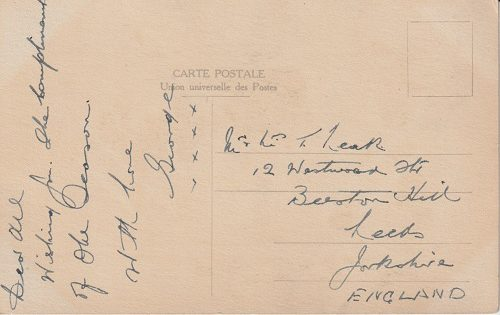 A Christmas postcard sent from Salonica, 1917 by George to Leeds.