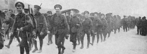 Photograph from 1915: British infantry on the march after landing at Salonika.