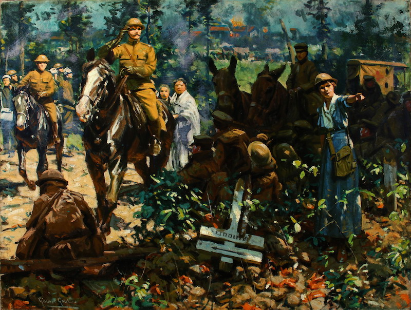 A painting called 'Directing Traffic' by Gilbert Gaul