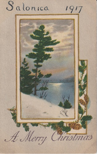 A Christmas postcard from Salonica, 1917, showing a winter scene.