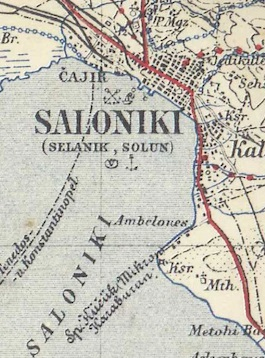 The location of Karaburan - the distinctive headland to the south of the city (from a 1915 map in SCS Trench Map DVD collection).