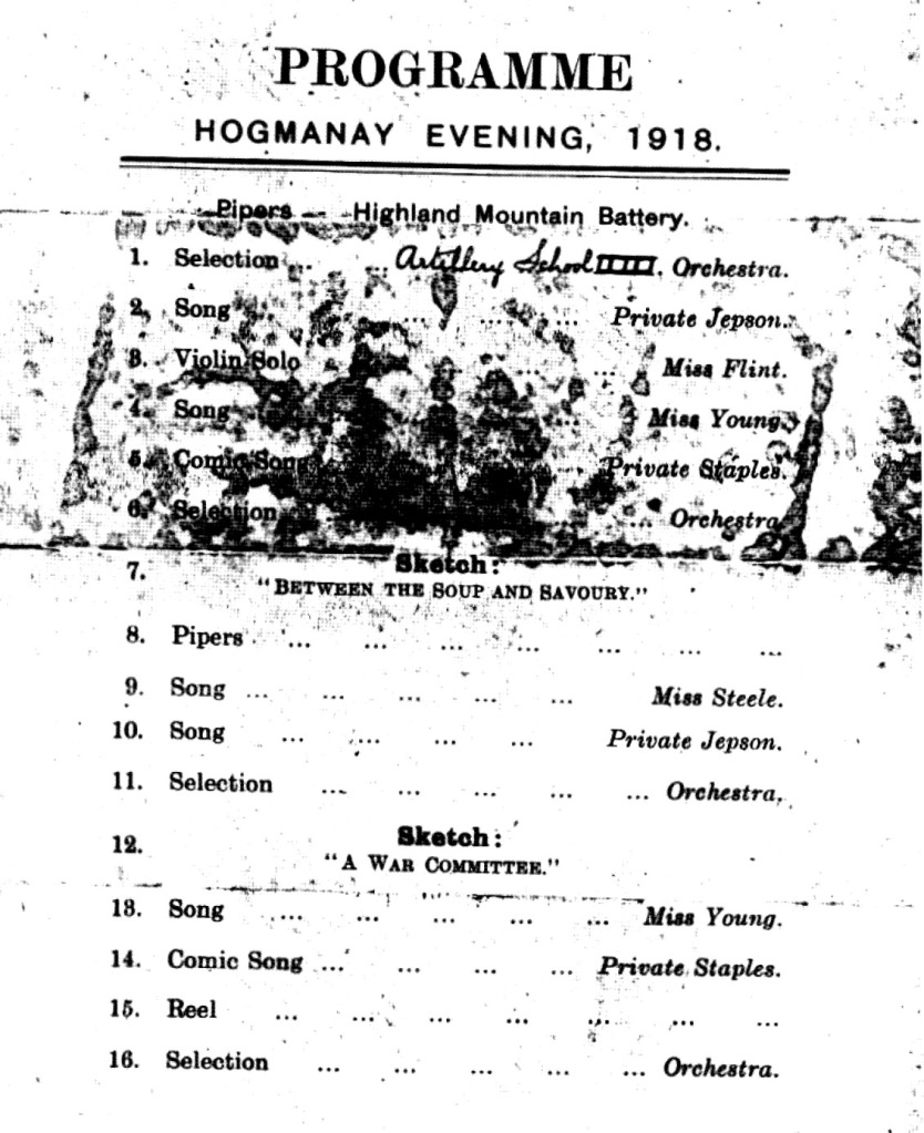 Hogmanay Evening, 1918 - Programme