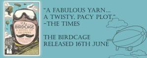 Advertisement for 'The Birdcage', a novel by writer and journalist Clive Aslet.
