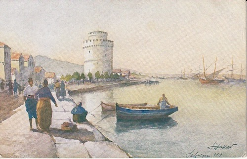 Postcard (front): Salonica 239 - The White Tower - sent 1 February 1918