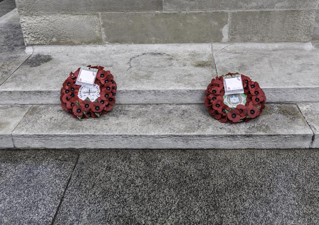 Photograph: wreaths laid by the SCS at the Cenotaph in Whitehall on Saturday 08 October 2016.