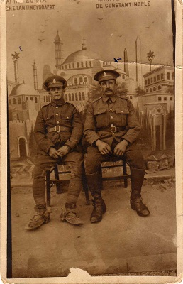 John and friend in Constantinople. From the collection of John Staple of the Army Service Corps Remount Service.