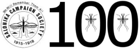 Salonika Campaign Society logo with 100 in numbers and mosquitoes in the noughts