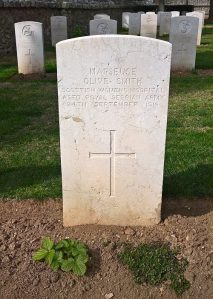 Photograph of the grave of Olive Smith of the Scottish Women's Hospitals who died of malaria on 24 September 1916 whilst attached to the Royal Serbian Army. The grave is in the CWGC Salonika (Lembet Road) Cemetery, which is part of the Allied Cemetery in Thessaloniki, known as Zeitenlik. The photograph was taken by SCS Web Editor in April 2016.