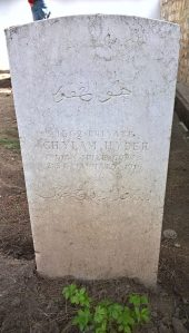 Photograph of the grave of 1362 Private Ghylam Hyder of the Indian Mule Corps who died on 21 January 1916. The grave is in the CWGC Salonika (Lembet Road) Cemetery, which is part of the Allied Cemetery in Thessaloniki, known as Zeitenlik. The photograph was taken by SCS Web Editor in April 2016.
