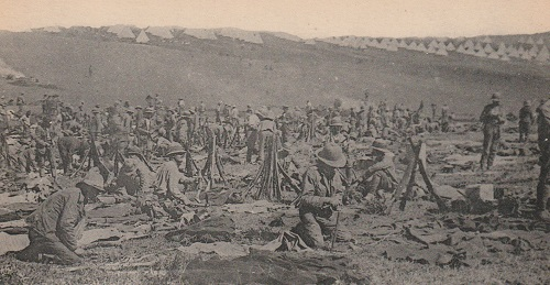 British troops in camp - probably Lembet Road in 1916. From a French postcard in Robin Braysher's collection.