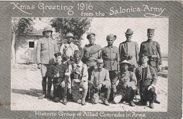 Christmas postcard from 1916 - Christmas Greeting 1916 from the Salonica Army. Historic Group of Allied Comrades in Arms.