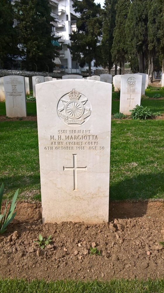 Photograph of the grave of Serjeant Michael Margiotta, ACC, at Lembet Road CWGC Cemetery who died of dysentery on 6 October 1918. Photo by Robin Braysher, SCS Web Editor.
