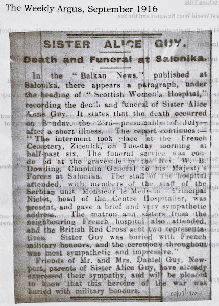 Press cutting from 'The Weekly Argus' of 2nd September 1916 about the death and funeral of Sister Alice Guy. Thanks to Andrew Hemmings and the South Wales Argus for this.