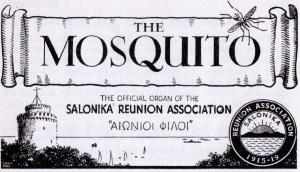 Logo of 'The Mosquito', quarterly publication of the Salonika Reunion Association.