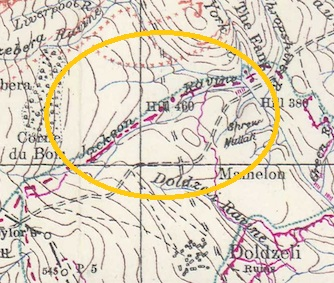 Close-up extract from a British 1:20,000 trench map of July 1917 showing Jackson Ravine on the Doiran battlefield. From the SCS Trench Map DVD.