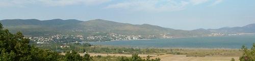 Photograph - Lake Doiran and the high ground held by the Bulgars. © Harry Fecitt