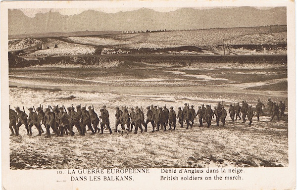 French postcard: The European War in the Balkans (10) - British soldiers on the march in the snow