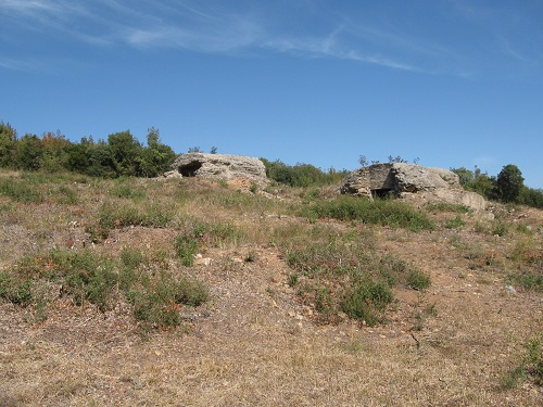 Photograph: British artillery positions on 'La Tortue', a hill on the Doiran battlefied. Photograph taken by SCS Chairman, Alan Wakefield, in September 2013.