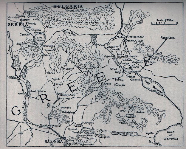 Map of the British Macedonian Front, supplied by Harry Fecitt (source unknown)