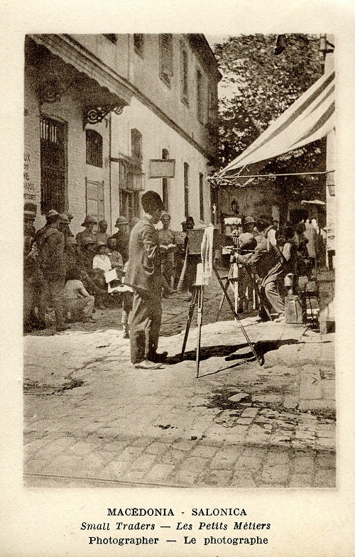 A postcard from 1915-1918 showing local photographers in Salonika, snapping members of the allied forces in the city. Thanks to these photographers - some of the thousands of small traders who saw the troops as a great business opportunity - there are many images of members of the BSF and its allies in circulation and available to buy, although most are anonymous. This postcard is from the collection of Martin and Kate Wills and is reproduced with thanks to them.