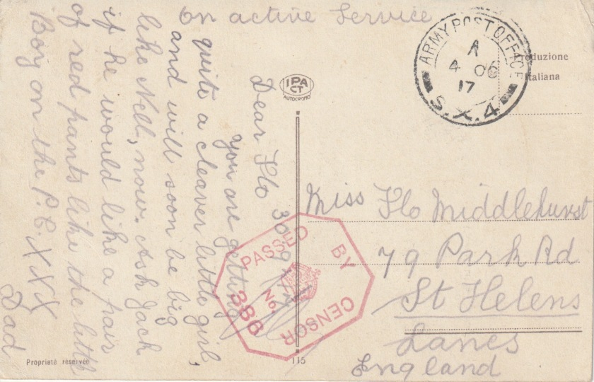Reverse of a postcard sent by 'Dad' in September 1917 to Flo Middlehurst in St Helens, Lancashire