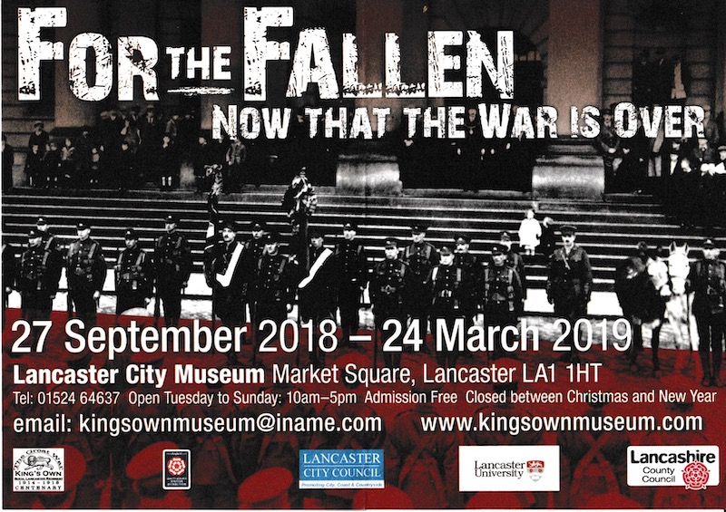"""Flyer for the """"For the Fallen' exhibition at the King's Own Museum, on until 24 March 2019."""