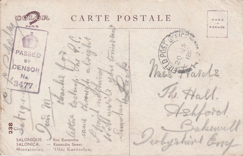 Postcard (reverse): Salonica 238 - Kassandra Street - sent 19 January 1918