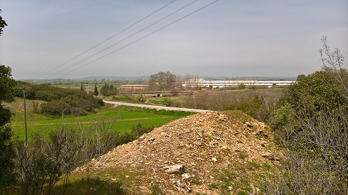 A photograph taken by the SCS Web Editor in April 2016 on the site of French fortifications dug by the 57th Division one hundred years ago as part of the 'The Birdcage' and looking across the plains from where the Bulgarians were expected to come.