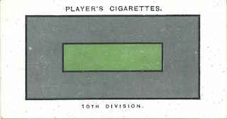 Player's Cigarettes card of the 'battle insignia' of 10th (Irish) Division. This was a narrow green stripe.
