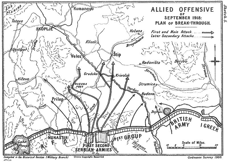 Map from the British Official History of the campaign - Allied Offensive of September 1918: Plan of Breakthrough