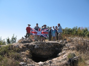 Photograph: SCS tour group at the 'Devil's Eye' on Grand Couronné, a key feature of the Doiran battlefield. Photograph taken by SCS Chairman, Alan Wakefield, in September 2013.