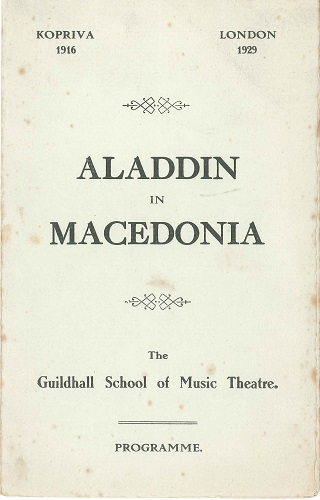 A programme for a 1929 production of 'Aladdin in Macedonia' performed at the Guildhall School of Music Theatre, by the 85th Club.