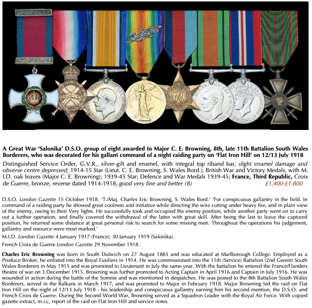 A medal group belonging to Major CE Browning, from the July 2019 catalogue of Dix Noonan Webb Ltd, Mayfair
