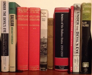 A photograph of a selection of books about the Salonika campaign