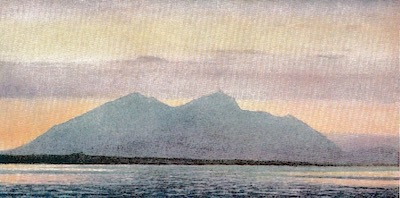 "Mount Olympos from Mikra. Nightfall. The dark line of land in the middle distance in ""Grand Karabou"" [Karaburun?] the promontory which separates Salonika Bay from the Gulf. Mount Olympos is about 60 miles away. Watercolour by W T Woods RWS."